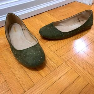 Olive green suede flats with gold studs